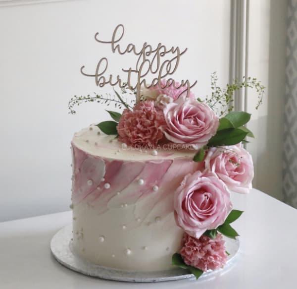 Bánh kem sinh nhật hình hoa mẫu đơn đẹp nhất 2021