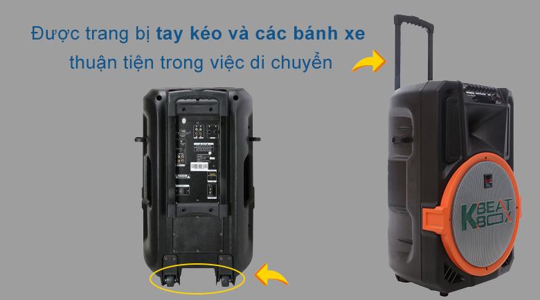 Loa kéo Acnos KB39U | tay kéo và bánh xe phối hợp nhịp nhàng mang đến sự tiện lợi cho người dùng