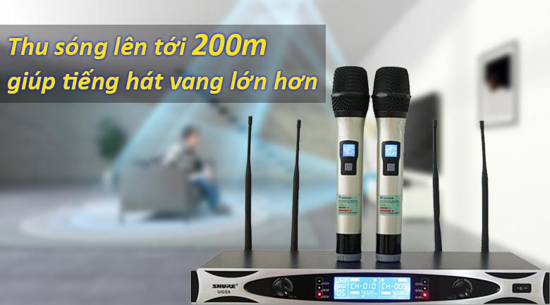 Micro Shure UGS9 | Khoảng cách thu phát lên đến 200m