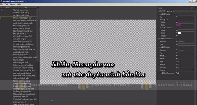 Giao diện sử dụng phần mềm Kara Title Maker 2