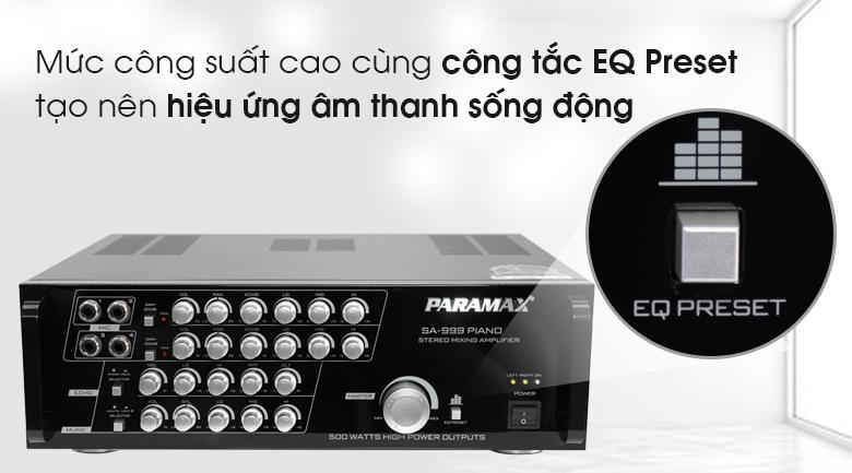 Công tắc EQ Preset của Amply karaoke Paramax SA-999 Piano New