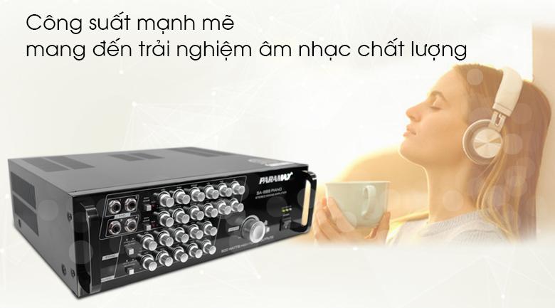 Công suất Amply karaoke Paramax SA-999 Piano New mạnh mẽ