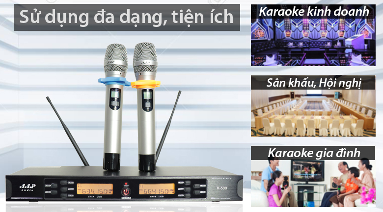 Micro aap K500 sử dụng trong kinh doanh, sân khấu, hội nghị, karaoke gia đình